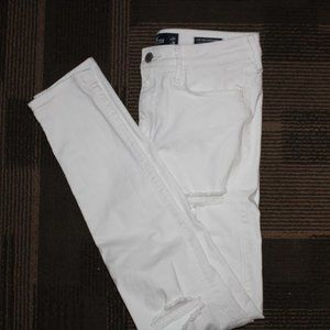 HOLLISTER WHITE HIGH RISE DISTRESSED SKINNY JEANS